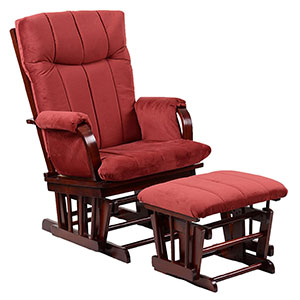 artiva usa home deluxe marsala super soft microfiber cushion cherry wood glider chair