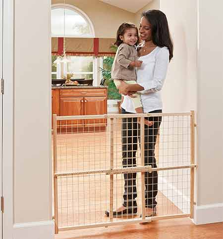 Evenflo-Position-and-Lock-Tall-Pressure-Mount-Wood-Gate